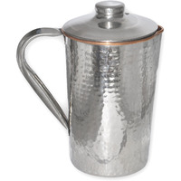 Prisha India Craft B. Copper Dimple Jug Outside Stainless Steel Indian Copper Utensils for Ayurveda Healing Capacity 1.6 L