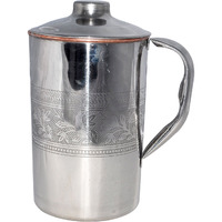 Prisha India Craft B. Copper Jug Water Pitcher Outside Stainless Steel Utensils for Ayurveda Healing Capacity 1.6 L