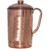 Prisha India Craft B. Best Quality Pure Copper Jug Water Pitcher Handmade Indian Copper Utensils for Ayurveda Healing Capacity 1.8 L