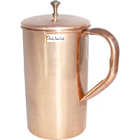 Prisha India Craft B. Classic Style Pure Copper Jug Water Pitcher Indian Copper Tableware for Ayurvedic Benefits