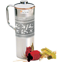 Copper Fridge Bottle Luxury Embossed Design Drinkware Tableware jug for Ayurveda Healing Capacity 0.9 L India Copper Jug - CHRISTMAS GIFT by Prisha India Craft B.
