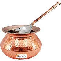 Prisha India Craft B. High Quality Handmade Steel Copper Casserole and Serving Spoon - Set of Copper Handi and Serving Spoon - Copper Bowl Dia - 5  X Height - 3.25  - Christmas Gift