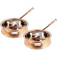 Set of 2 Prisha India Craft B. High Quality Handmade Steel Copper Casserole and Serving Spoon - Set of Copper Handi and Serving Spoon - Copper Bowl Dia - 5.00  X Height - 2.00  - Christmas Gift