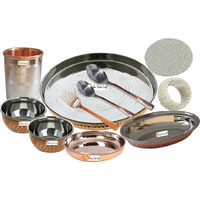 Prisha India Craft B. Best Indian Dinnerware Steel Copper Thali Set Dia 13  Traditional Dinner Set of Plate, Bowl, Spoons, Glass with Napkin ring and Coaster - Christmas Gift