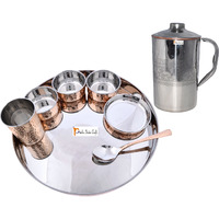 Prisha India Craft B. Dinnerware Traditional Stainless Steel Copper Dinner Set of Thali Plate, Bowls, Glass and Spoon, Dia 13  With 1 Embossed Stainless Steel Copper Pitcher Jug - Christmas Gift