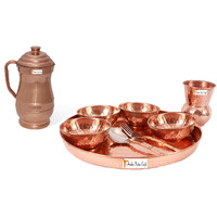 Prisha India Craft B. Dinnerware Traditional 100% Pure Copper Dinner Set of Thali Plate, Bowls, Glass and Spoon, Dia 12  With 1 Pure Copper Maharaja Pitcher Jug - Christmas Gift