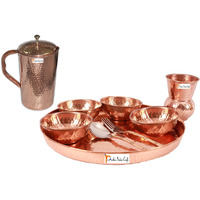 Prisha India Craft B. Dinnerware Traditional 100% Pure Copper Dinner Set of Thali Plate, Bowls, Glass and Spoon, Dia 12  With 1 Pure Copper Hammered Pitcher Jug - Christmas Gift
