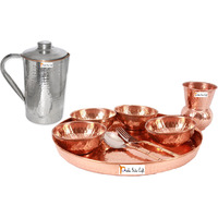 Prisha India Craft B. Dinnerware Traditional 100% Pure Copper Dinner Set of Thali Plate, Bowls, Glass and Spoon, Dia 12  With 1 Stainless Steel Copper Hammered Pitcher Jug - Christmas Gift