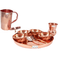 Prisha India Craft B. Dinnerware Traditional 100% Pure Copper Dinner Set of Thali Plate, Bowls, Glass and Spoon, Dia 12  With 1 Pure Copper Embossed Pitcher Jug - Christmas Gift