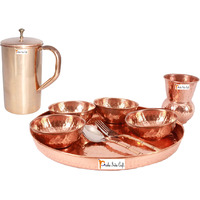 Prisha India Craft B. Dinnerware Traditional 100% Pure Copper Dinner Set of Thali Plate, Bowls, Glass and Spoon, Dia 12  With 1 Pure Copper Classic Pitcher Jug - Christmas Gift