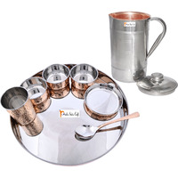 Prisha India Craft B. Dinnerware Traditional Stainless Steel Copper Dinner Set of Thali Plate, Bowls, Glass and Spoon, Dia 13  With 1 Luxury Style Pitcher Jug - Christmas Gift
