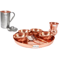 Prisha India Craft B. Dinnerware Traditional 100% Pure Copper Dinner Set of Thali Plate, Bowls, Glass and Spoon, Dia 12  With 1 Luxury Style Pitcher Jug - Christmas Gift