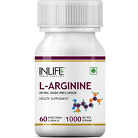 INLIFE L-Arginine, Nitric Oxide Precursor Supplement 1000 mg per serving - 60 Vegetarian Capsules
