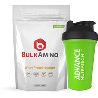 Advance Nutratech Bulkamino Whey Protein Isolate 1kg unflavored without sugar , without carb + Free shaker