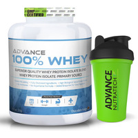 Advance Nutratech 100% Whey Protein Powder 4 Lbs Chocolate + free shaker