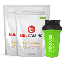 Advance Nutratech Bulkamino Whey Protein Isolate 2Kg 4.4Lbs(1Kg X 2 Pouches) Unflavoured + Free Shaker