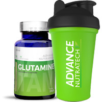 Advance Nutratech Glutamine supplement powder 100gm unflavored with Shaker
