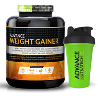 Advance Nutratech Weight Gainer 6.6Lbs 3Kg Chocolate With Odourfree Spillproof Whey Protein Shaker 600Ml N