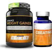 Advance Weight Gainer 1Kg (2.2LBS) Banana Sugar free + Creatine Monohydrate unflavored 100 gm