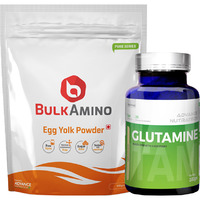 Advance Nutratech BulkAmino Egg Yolk Powder 300gram Unflavored&Glutamine supplement powder 100gm unflavored