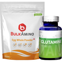 Advance Nutratech BulkAmino Egg Whole Powder 300gram(1.1lbs) Unflavoured&Glutamine supplement powder 100gm unflavored