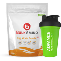 Advance Nutratech BulkAmino Egg Whole Powder 300gram(1.1lbs) Unflavoured with Shaker