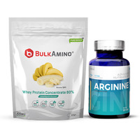 Advance Nutratech Bulkamino Whey Protein Concentrate 80 % Raw Protein 500 Gram Banana Supplement Powder&Arginine Aminos Pre-workout 60 Capsules