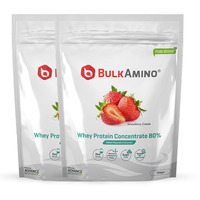 Advance Nutratech Bulkamino Whey Protein Concentrate 80 % Raw Protein 500gm Strawberry Supplement Powder(pack of 2)1 kg