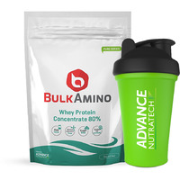 Advance Nutratech Bulkamino Whey Protein Concentrate 80 % Raw Protein 1Kg(2.2Lbs) Supplement Powder With Free Shaker