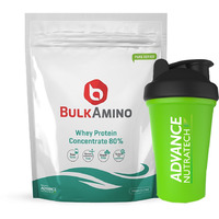 Advance Nutratech BulkAmino Whey Concentrate 80% Powder 500gram(1.1lbs) Unflavoured + Free Shaker