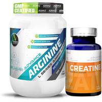 Advance Nutratech Arginine Aminos Pre-workout 200 gm unflavoured Raw Powder &Creatine Monohydrate unflavored 100 gm
