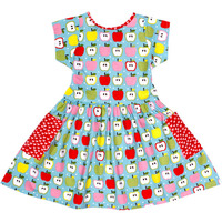 Always Kids' Long Weekend Blue Apple Printed Dress