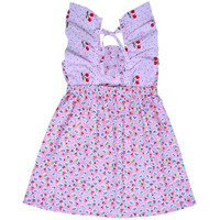 Always Kids Girl's Pink Cherry Butterfly Printed Dress