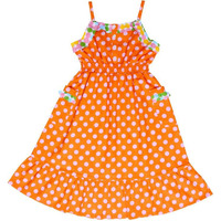 Always Kids Girl's Orange Dot Lexi Printed Dress