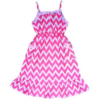 Always Kids Girl's Pink Chevron Lexi Printed Dress