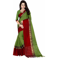 Mastani Green Cotton Silk   Indian Ethnic Wear Designer Sarees For Womens