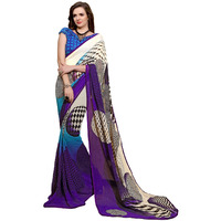 Indian Ethnic Purple Color Printed  Faux Georgette Casual Wear  Saree