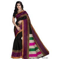Indian Ethnic Black Color Printed  Bhagalpuri Festive Wear  Saree