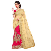 Indian Ethnic Pink Color Embroidered Georgette Party Wear  Saree