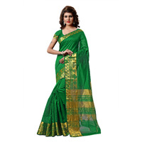 Indian Ethnic Green Color Jacquard Tissue Festive Wear  Saree