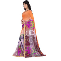 Indian Ethnic Orange Color Printed  Georgette Casual Wear  Saree