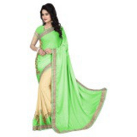 Indian Ethnic Green Color Embroidered Faux Georgette Party Wear  Saree