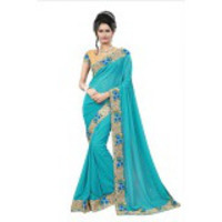 Indian Ethnic Turquoise Color Embroidered Georgette Party Wear  Saree