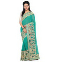 Indian Ethnic Green Color Embroidered Georgette Party Wear  Saree