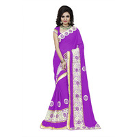 Indian Ethnic Purple Color Embroidered Faux Georgette Party Wear  Saree