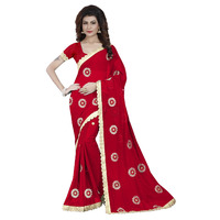 Indian Ethnic Red Color Embroidered Georgette Party Wear  Saree