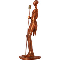Unique Kraft ???Man Holding A Mic??? Statue Showpiece (29Inch X 11.7Inch X 10.1Inch, Hlw) In Bronze Color