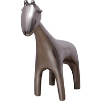 Unique Kraft Handcrafted Aluminium Giraffe Showpiece Figurine For Home Decor In Silver Color