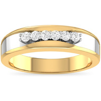 DGLA Certified Round Cut Natural Diamond Rings 14k Yellow Gold Anniversary Rings