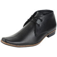 Molessi Black Leather Ankle Shoes